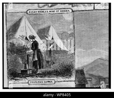 Life on the plains preparing supper / / from sketches by Mr. James F. Gookins. - Stock Photo
