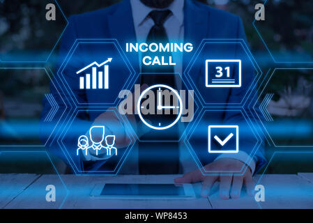 Handwriting text writing Incoming Call. Conceptual photo Inbound Received Caller ID Telephone Voicemail Vidcall Male human wear formal work suit prese - Stock Photo