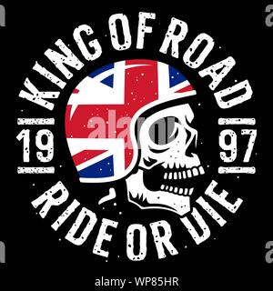 Skull in motorcycle helmet, flag of the United Kingdom and slogan typography for t shirt design. T-shirt print graphics on the theme of motorcycle - Stock Photo