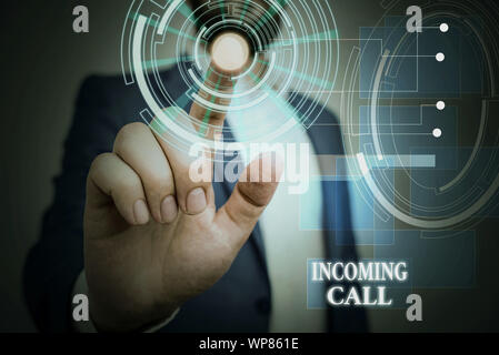 Handwriting text Incoming Call. Conceptual photo Inbound Received Caller ID Telephone Voicemail Vidcall Male human wear formal work suit presenting pr - Stock Photo