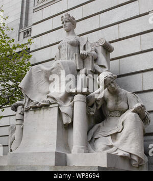 Limestone sculpture Providence as Independent Thought, Flanked by Industry and Education by John Massey Rhind, located at the Federal Building & U.S. Courthouse Providence, Rhode Island - Stock Photo