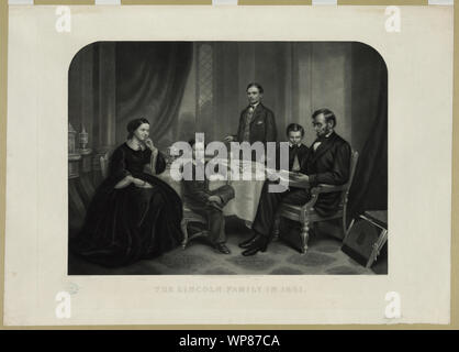 Lincoln family in 1861 / painted by F.B. Carpenter; engraved by J.C. Buttre. - Stock Photo