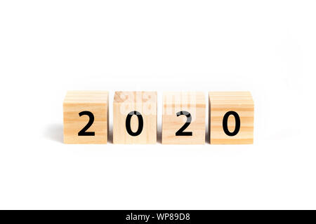 New year 2020 concept with wooden cubes - Stock Photo