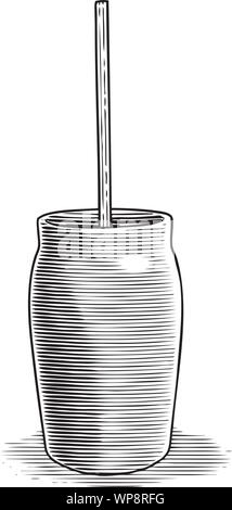 Woodcut illustration of an antique butter churn. - Stock Photo
