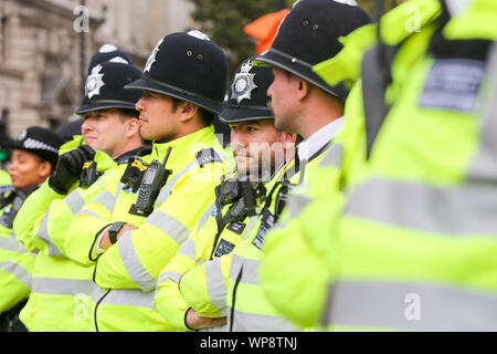 London, UK. 07th Sep, 2019. Large number of police officers stand alert during the Pro-Brexit protest at the Parliament Square in Westminster, London. Credit: SOPA Images Limited/Alamy Live News - Stock Photo