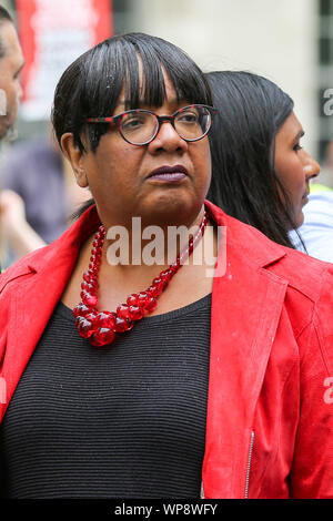 London, UK. 07th Sep, 2019. Diane Abbott, Shadow Home Secretary attends the protest.The campaigners are demonstrating to oppose the British Prime Minister Boris Johnson's plans to suspend UK Parliament until October 14. Credit: SOPA Images Limited/Alamy Live News