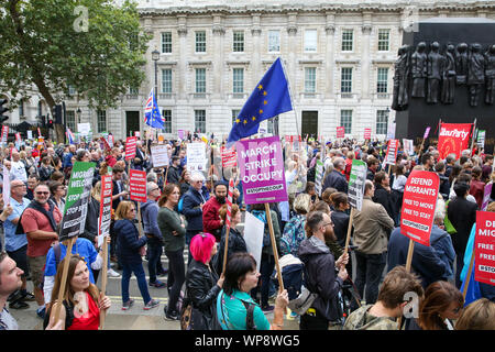 London, UK. 07th Sep, 2019. Anti-Brexit campaigners with placards and EU flags demonstrates at London's Whitehall in Westminster.The campaigners are demonstrating to oppose the British Prime Minister Boris Johnson's plans to suspend UK Parliament until October 14. Credit: SOPA Images Limited/Alamy Live News