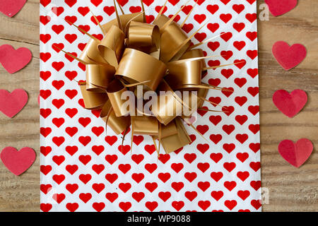 Decorative gift box with and ribbon - Stock Photo