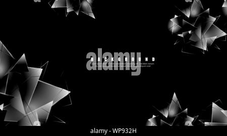 abstract background with glowing triangles that overlap. isolated black background. vector illustration of eps 10 - Stock Photo