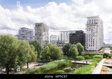Paris eco-district - Clichy-Batignolles in the 17th arrondissement is one of developed eco-districts (eco quartiers) in Paris, France, Europe. - Stock Photo
