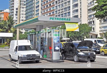 Petrobras station-service on Atlantica avenue, Copacabana, Rio de Janeiro, Brazil - Stock Photo