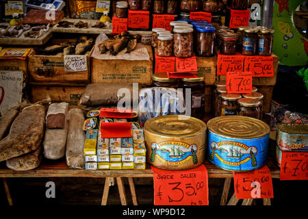 Canned food in the fish market, Palermo, Sicily, Italy - Stock Photo