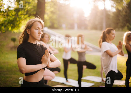 Group of young women are practicing yoga lesson standing in Vrksasana exercise - Stock Photo