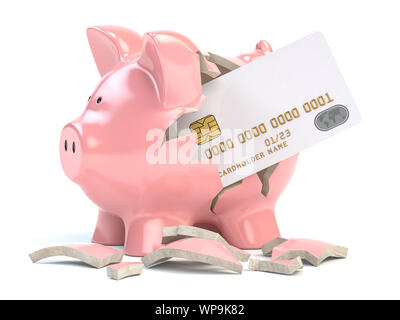 Piggy bank with credit card isolated on white background. Mockup. Home budget, savings, banking concept. 3d illustration - Stock Photo