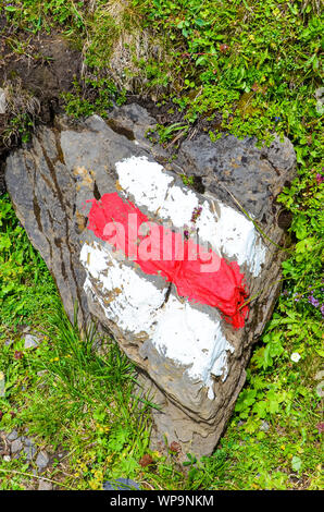 White red hiking trail mark painted on a rock in nature. The tourist signs help for orientation on hiking path. Trailblazing, waymarking. Hike, nordic walking. Outdoor activities. Active recreation. - Stock Photo