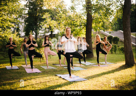 Group of young women are standing in namaste pose morning in park while sunrise - Stock Photo