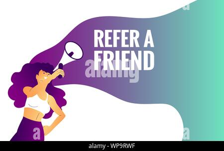 beautiful girl is holding megaphone, refer to a friend text. - Stock Photo