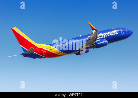 Phoenix, Arizona – April 8, 2019: Southwest Airlines Boeing 737-800 airplane at Phoenix airport (PHX) in the United States. - Stock Photo