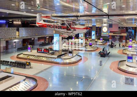 Las Vegas, Nevada – April 10, 2019: Terminal of Las Vegas airport (LAS) in the United States. - Stock Photo