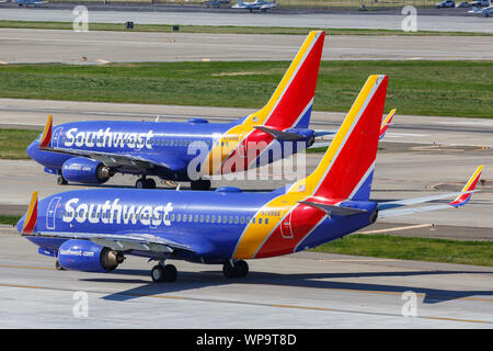 San Jose, California – April 10, 2019: Southwest Airlines Boeing 737-700 airplanes at San Jose airport (SJC) in the United States. - Stock Photo