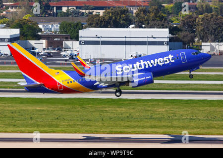 San Jose, California – April 10, 2019: Southwest Airlines Boeing 737-700 airplane at San Jose airport (SJC) in the United States. - Stock Photo