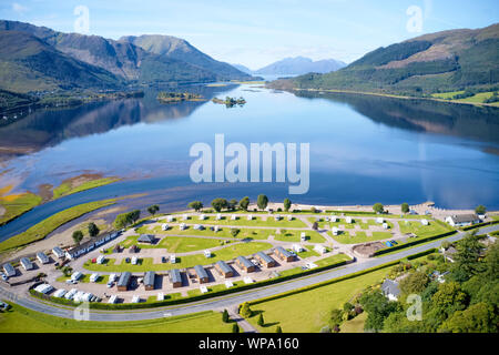 Invercoe caravan camping park site near Glencoe aerial birdseye view in the Highlands Scotland - Stock Photo