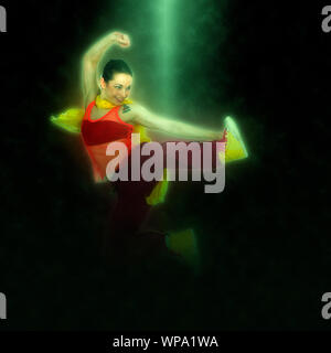Digitally enhanced image of a Female Hip hop Dancer - Stock Photo