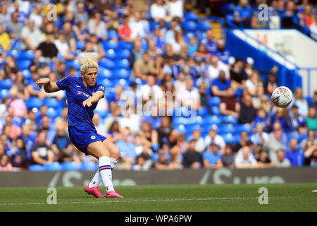 London, UK. 08th Sep, 2019. Millie Bright of Chelsea Women in action. FA Women's super league match, Chelsea women v Tottenham Hotspur women at Stamford Bridge in London on Sunday 8th September 2019. this image may only be used for Editorial purposes. Editorial use only, license required for commercial use. No use in betting, games or a single club/league/player publications. pic by Steffan Bowen/ Credit: Andrew Orchard sports photography/Alamy Live News - Stock Photo