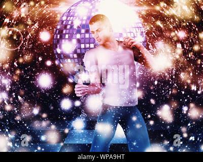 Illustration of 3d man on disco dancing floor background. - Stock Photo