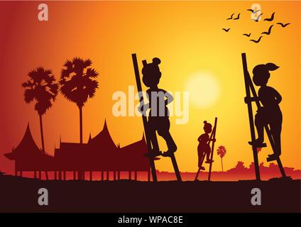 stand the bowl or Legs tho The ash bowl a leg,Thai ancient play ,vector illustration - Stock Photo