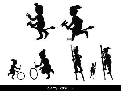 Silhouette children play game,stand the bowl or Legs tho The ash bowl a leg banana horse and hit wheel roll,Thai ancient play ,vector illustration - Stock Photo