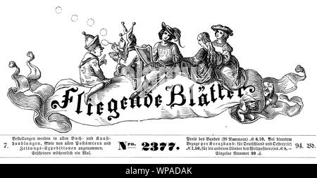 Headline of Fliegende Blaetter (Flying papers) German satirical magazine of humor and caricatures - Stock Photo