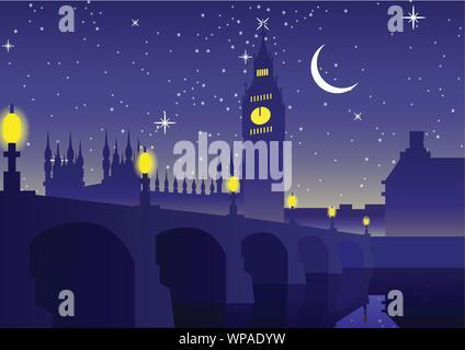 Big Ben clock famous landmark of England London,night scene,silhouette style,vector illustration - Stock Photo