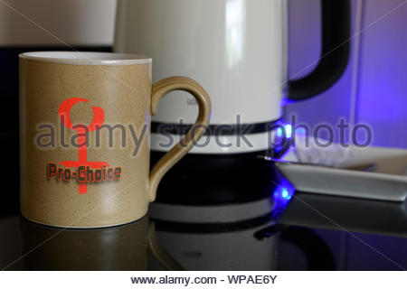 Pro-choice on Personal cup, Blandford, Dorset, England, UK - Stock Photo