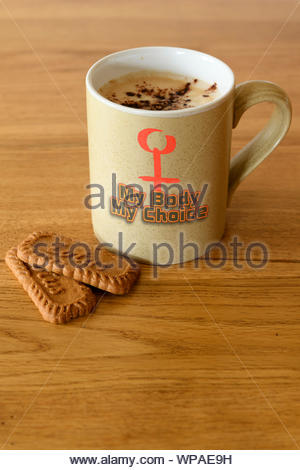 Pro-choice slogan on Personal cup, Blandford, Dorset, England, UK - Stock Photo