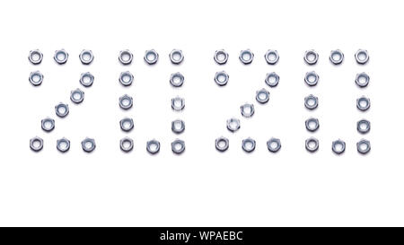 Pattern of metal nuts for bolts, numbers 2020 New Year, isolate on a white background. Spare parts for fastenings designs, Christmas card holiday gree - Stock Photo