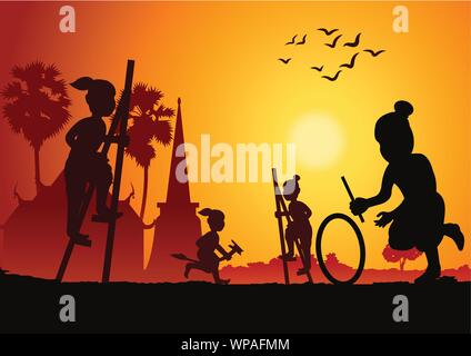 Silhouette children play game,stand the bowl or Legs tho The ash bowl a leg banana horse and hit wheel roll,Thai ancient play ,scenery background,vect - Stock Photo