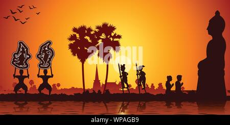 Country life grand shadow play,stand the bowl and couple pay respect to Buddha sculpture - Stock Photo