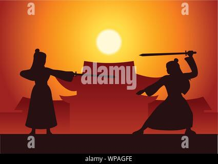 Chinese martial hero train fight each other front of ancient Chinese house on sunset time,silhouette style - Stock Photo