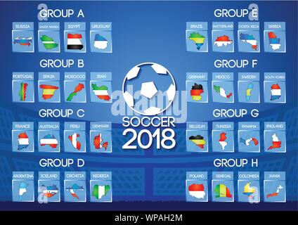 Russia football final round group in map icon flag color - Stock Photo