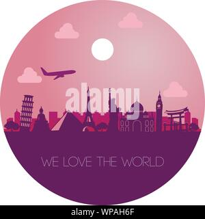 famous landmark of the world,silhouette color style - Stock Photo