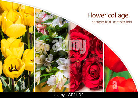 Flower collage of various fresh flowers in the form of vertical stripes, with copy space for text. - Stock Photo