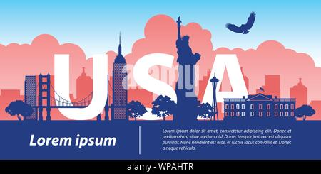 usa  top famous landmark silhouette style,USA text within,travel and tourism,vector illustration - Stock Photo