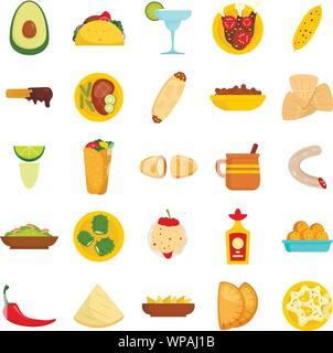 Mexican food icon set. Flat set of mexican food vector icons for web design - Stock Photo