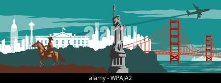 Cowboy,statue of Liberty and Golden gate bridge famous landmark and symbol of USA,for web design,vintage color,vector illustration - Stock Photo
