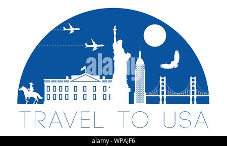 USA top famous landmark silhouette and dome with blue color style,travel and tourism,vector illustration - Stock Photo