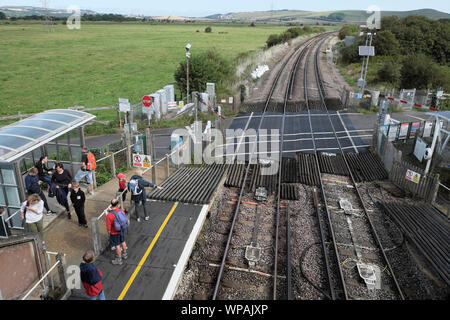 View looking down on people tourists waiting on Southease Station platform for a train heading to Brighton East Sussex summer England UK  KATHY DEWITT - Stock Photo