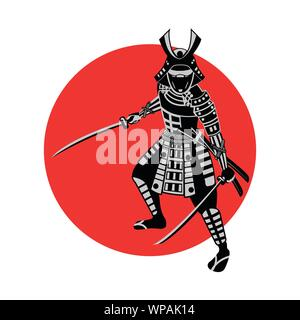 Samurai hold sword in front of red circle,warrior of japan,monochrome realistic design,vector illustration - Stock Photo