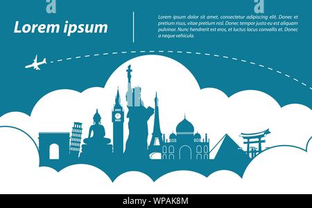 world  top famous landmark silhouette style around with cloud,trip and tourism,vector illustration - Stock Photo
