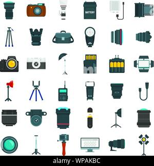Photographer equipment icons set. Flat set of photographer equipment vector icons for web design - Stock Photo